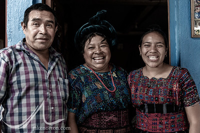 Portrait of a Mayan family near Lake Atitlan, Guatemala.