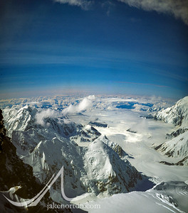 Looking down on the Kahiltna Glacier from high on Denali (Mt. McKinley), Alaska.
