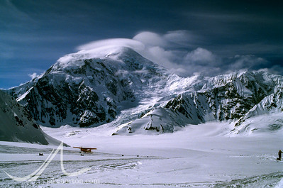 Plane landing at Basecamp on the Kahiltna Glacier Denali (Mt. McKinley), Alaska.