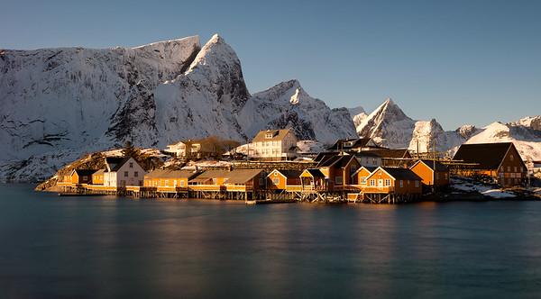 Quiet moment; soft light:  Sakrisøya, Moskenes, Norway