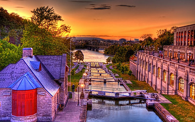 The entrance locks to the Rideau Canal. The navigable waterway starts in the nation's capital beside the houses of Parliament and runs for 202 kim to Kingston, Ontario.