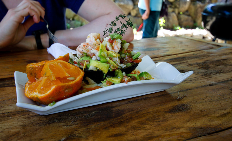 Shrimp & Avocado salad... the Orange is really a variety of lime.