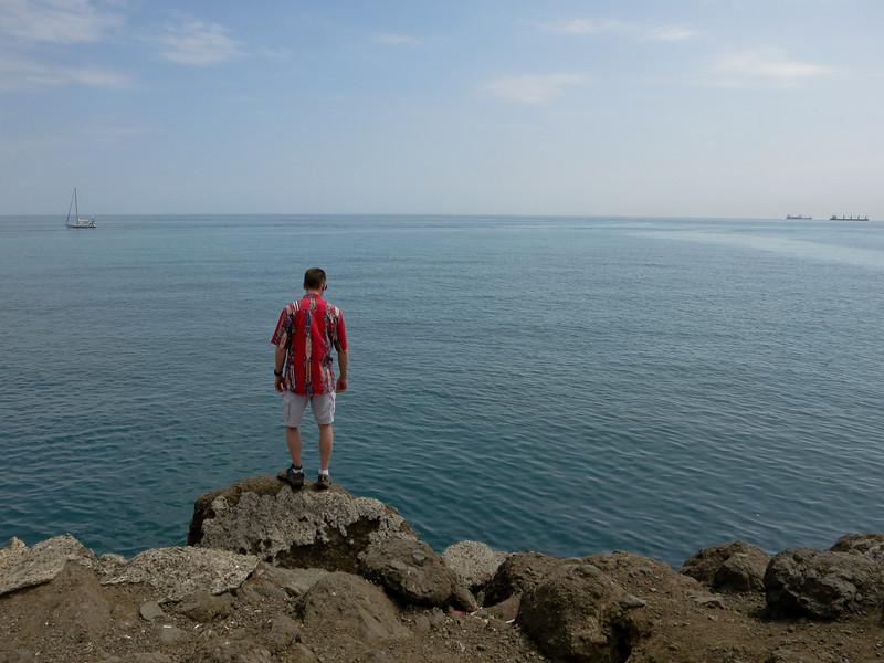 Pete, on the Caiz de Amador causeway
