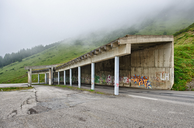 Half open tunnel on the way to the col de Tourmalet near La Mongie