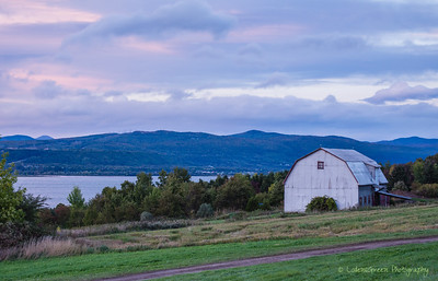 Barn Overlooking the St. Lawrence River,  Ile d'Orleans, Quebec, Canada