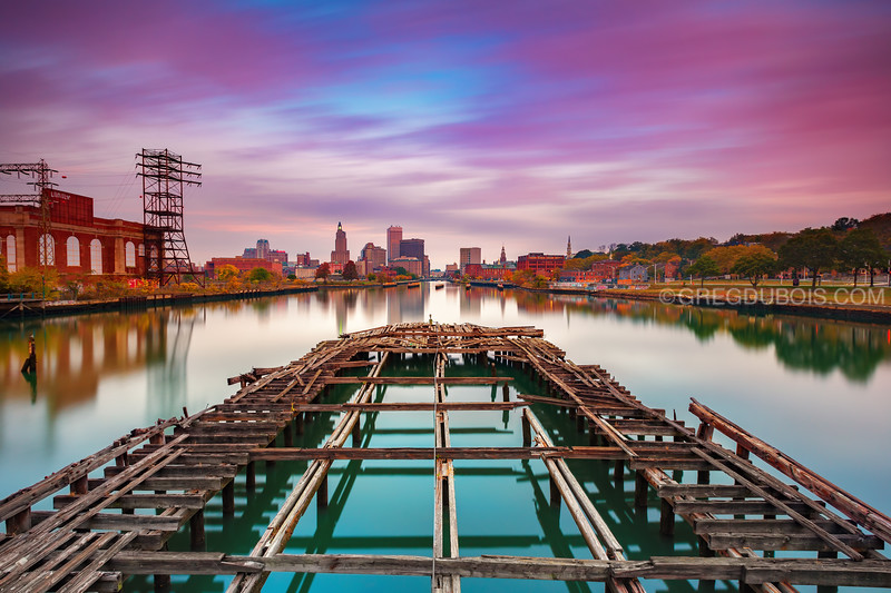 Providence Rhode Island Skyline at Sunrise over Decayed Pier and Providence River