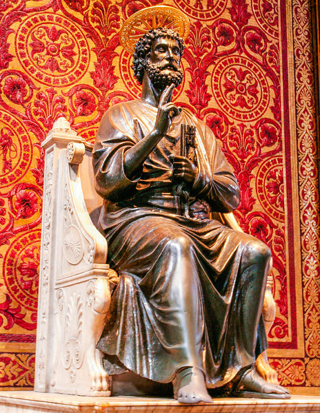 This is a bronze statue of St. Peter thought to have been made by Arnolfo di Cambio in the 13th century, although that's something that's often disputed by art historians and scholars who think it was cast as early as the fifth century. Either way, this St. Peter has seen a lot of love. It's tradition for people to kiss or rub his foot when they pass by. You can tell just how many people have done it by the fact that his right toes have worn into a completely smooth surface, whereas his left toes are still individual digits.