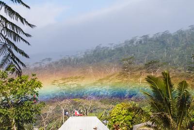 Rainbow in rainy day