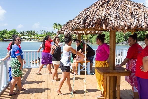 Samoan women at beach resort