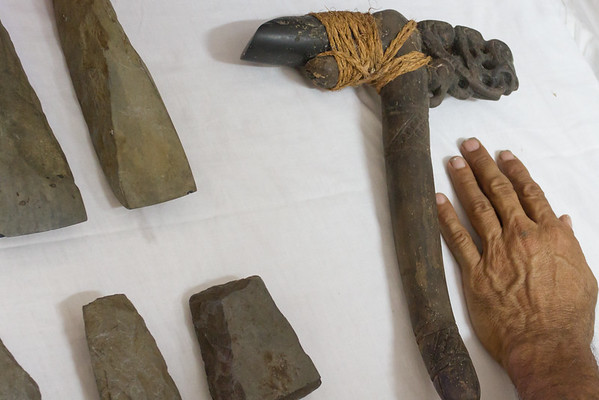 Ancient carving tool with stone head. Adzes, Cook's collection.
