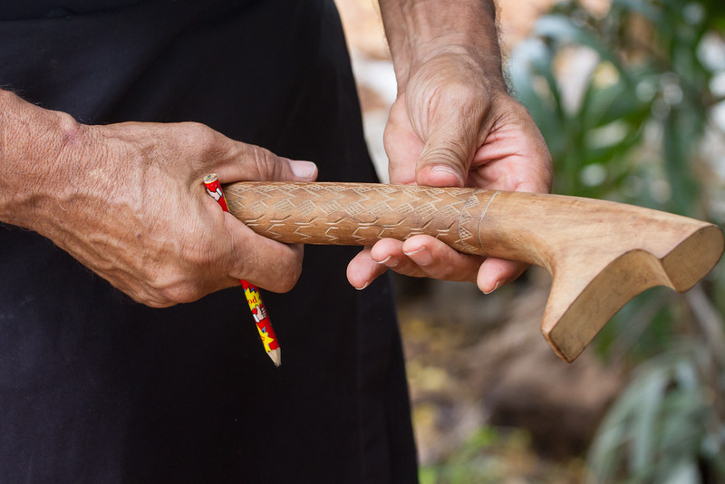 Handle with ornamental carving
