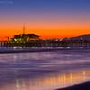 Sunset Burn into Dusk over Santa Monica Pier with Malibu Mountains - Santa Monica Beach Los Angeles County California