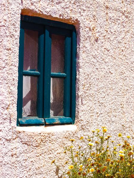 Green Window & Yellow Flowers, Santorini, Greece