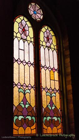 Church window at sundown.
