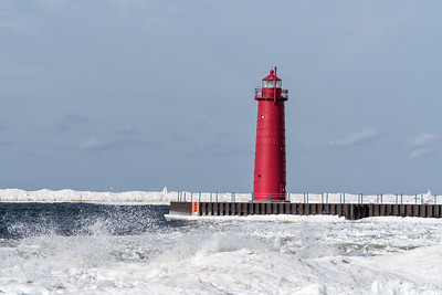 Muskegon Michigan South Pier Light 1903