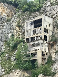 abandoned worksite near Golubac fortress in eastern Serbia