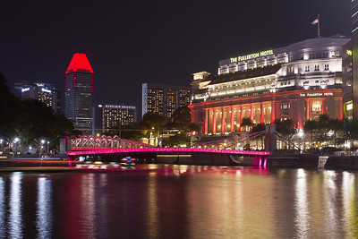 Around Boat Quay at night.