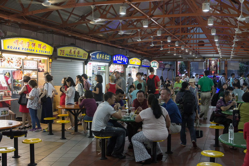 Maxwell Food Court in the evening.