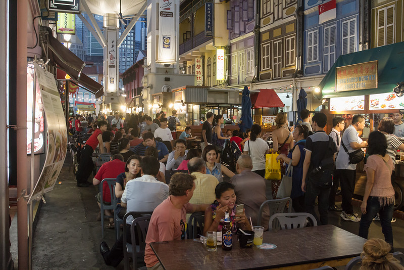 Food street in the evening.