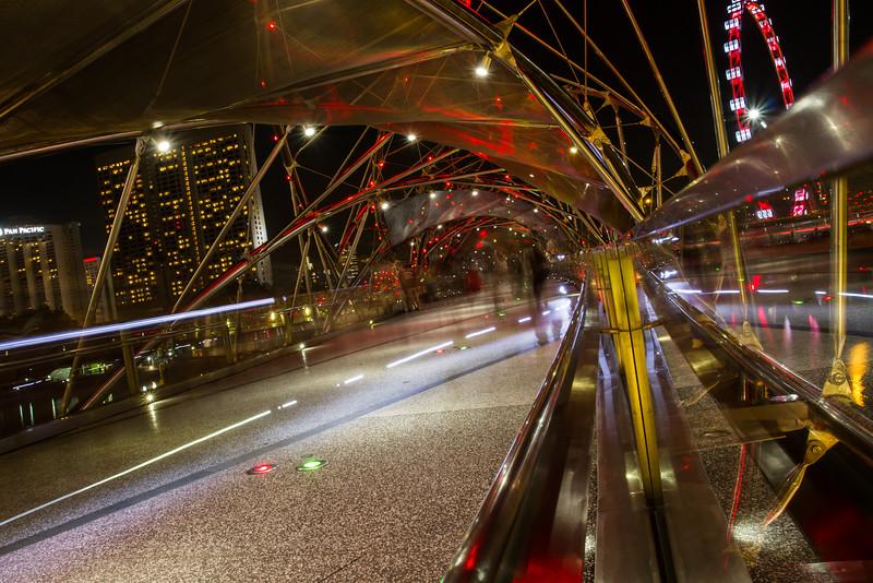 Double Helix Bridge at night