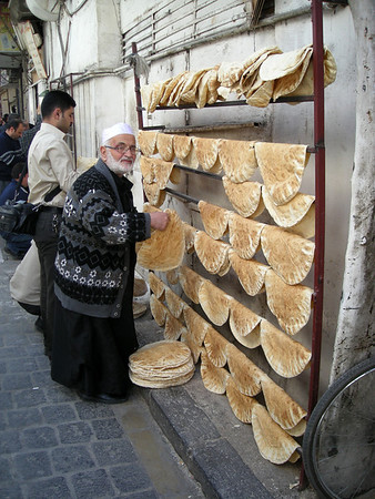 hanging bread on a cooling rack, Damascus