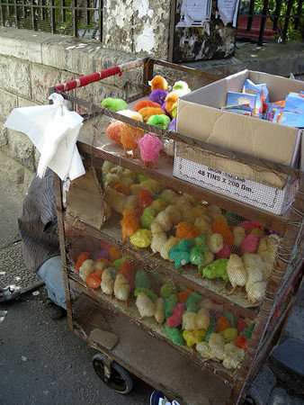 colored Easter chicks, Christian Quarter, Damascus