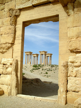 a view of the Tetrapylon at Palmyra