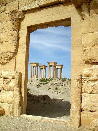 a view of the Tetrapylon at Palmyra