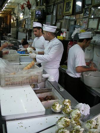 in Bekdach a handmade ice cream shop in the  Hamidiyya souq, old Damascus.  One flavor - vanilla with shredded pistachios. yummm