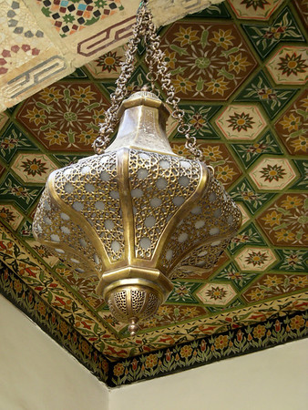 a hanging brass lantern in Damascus