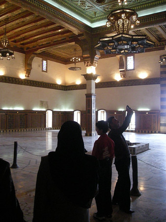 in a restored palace room in the Citadel in Aleppo