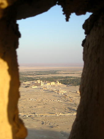a view of the ruins at Palmyra from Qala'at ibn Maan fortress
