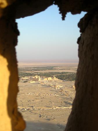 a view of the ruins at Palmyra from Qala'at ibn Maan fortress