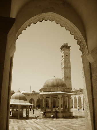 interior courtyard to the Great Mosque in Aleppo