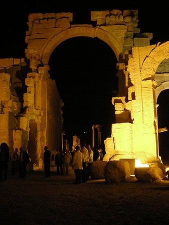 nighttime viewing at the ruins at Palmyra