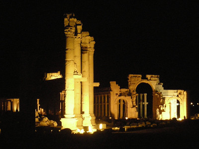 a night view of the monumental arch in Palmyra