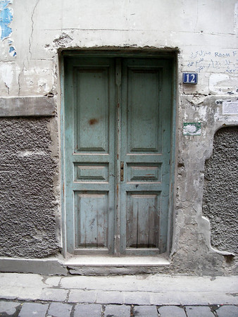painted blue door, damascus