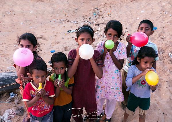 Kids at Negombo beach