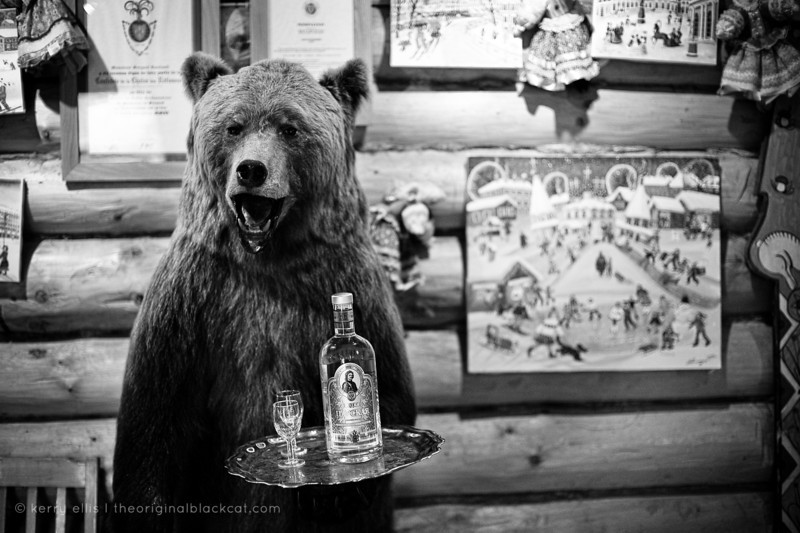 Vodka-serving stuffed bear at Podvorye restaurant
