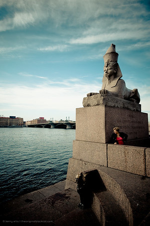Granite Egypt sphinx on the Neva River embankment