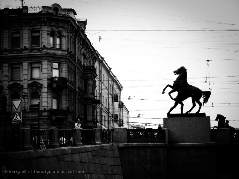 One of The Horse Tamers statues designed by Russian sculptor Baron Peter Klodt von Urgensburg, on the Anichkov Bridge