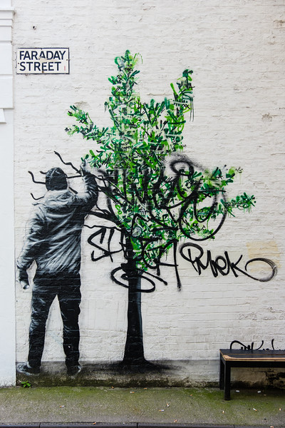"""Paint the Trees"" by Martin Whatson (Norway), Cities of Hope 2016, Faraday St., in the Manchester Northern Quarter"