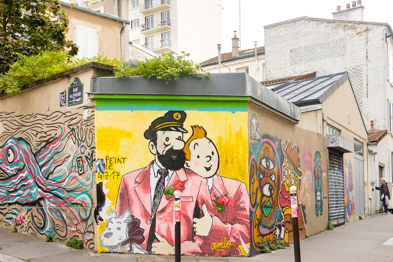 Tintin et Haddock, corner of rue Alphand and rue Barrault, Paris (13th)