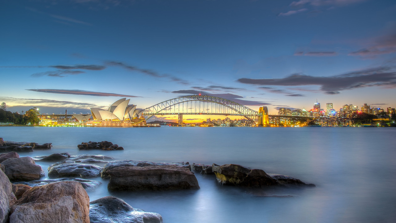 Sydney Opera House and Harbour bridge panorama