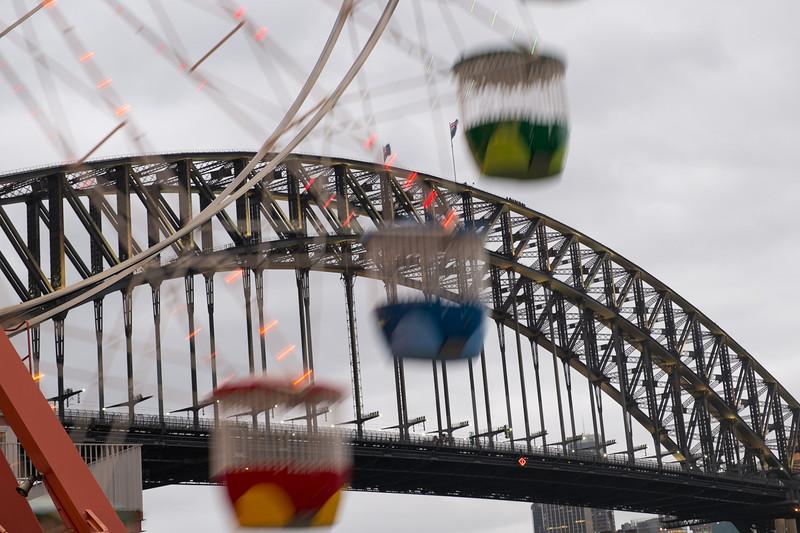 Sydney bridge from the Luna park