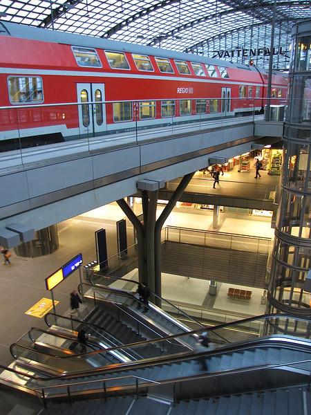 inside the Hauptbahnhof (train station) in Berlin