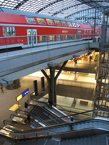 inside the Hauptbahnhof (train station) in Berlin