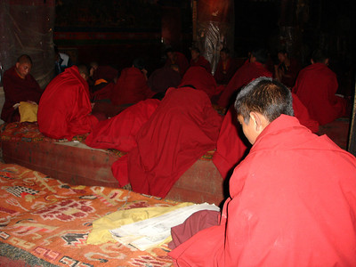 novice monks learning at the Sakya Monastery, Tibet