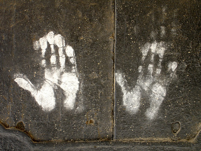 hand prints on monastery door