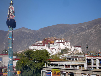 the Potala Palace seen from the roof at the Jokhang Temple